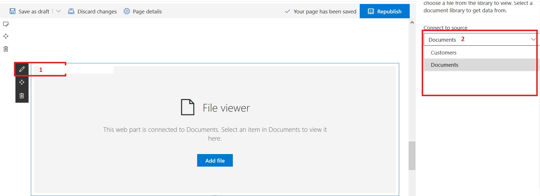 """File viewer web part property to select """"Documents"""" library from connect to source drop-down list"""
