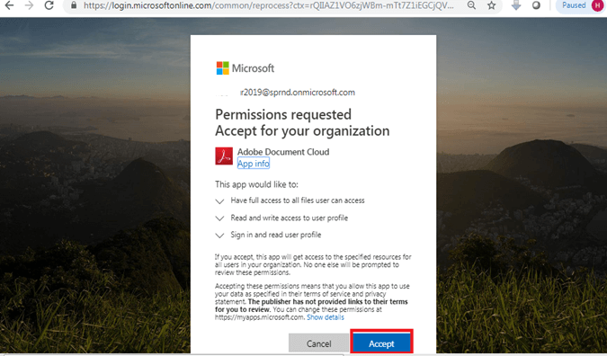 Accept in Permissions requested Accept for your organization