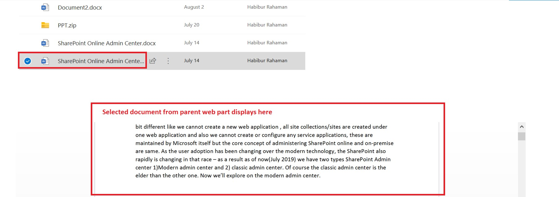 Display selected file from parent web part to child web part in SharePoint Online