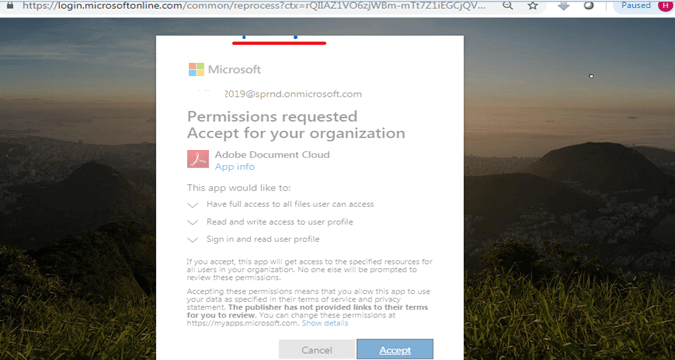 Progress bar in the Permissions requested Accept for your organization