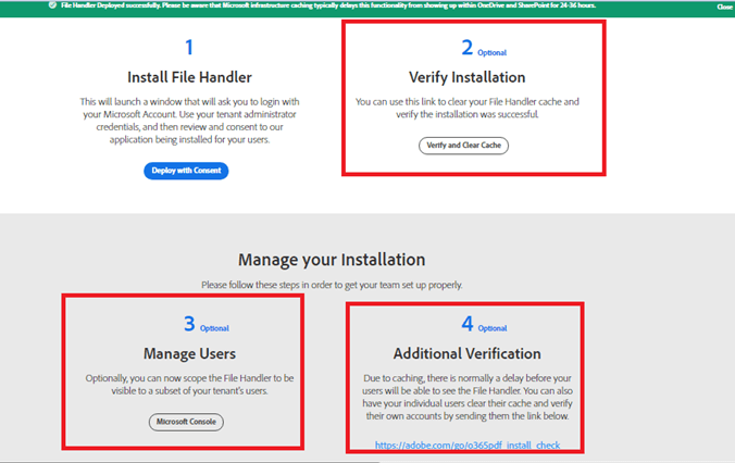 Manage Users, Verify Installation - Deploy the Adobe PDF experience to your organization