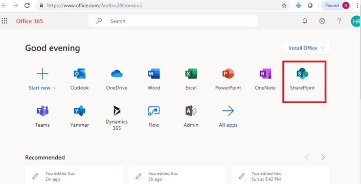 Access SharePoint from Office 365 Admin Center