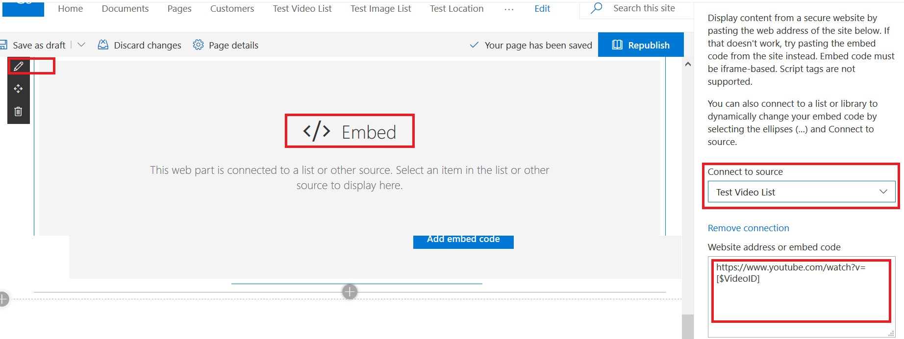 Show a selected YouTube video in SharePoint Online using embed web part connect to source