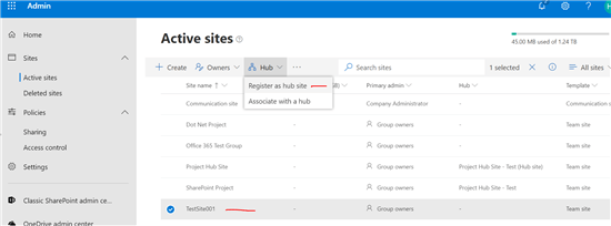 Register hub site SharePoint online