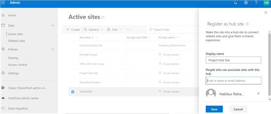 SharePoint hub site configuration