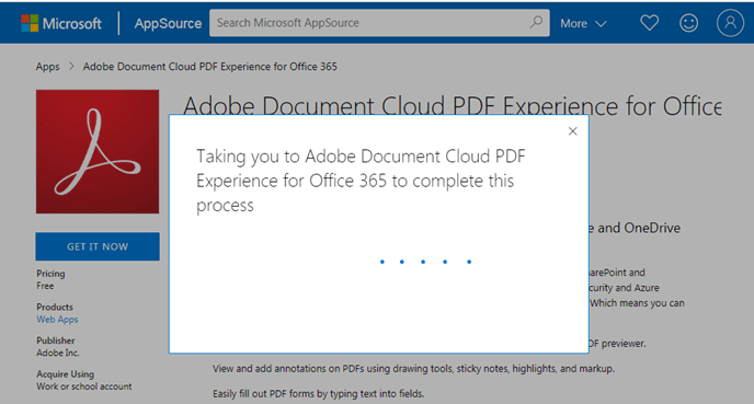 Taking you to Adobe Document Cloud PDF Experience for Office 365 to complete this process