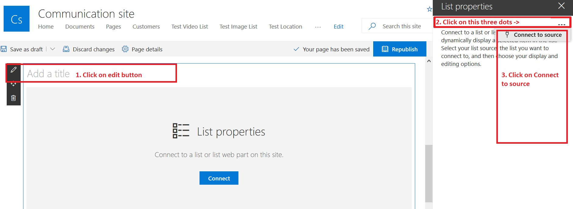 Connect to source in list view web part - SharePoint Online