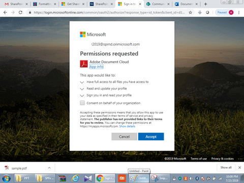 Permission Requested in Adobe Document Cloud