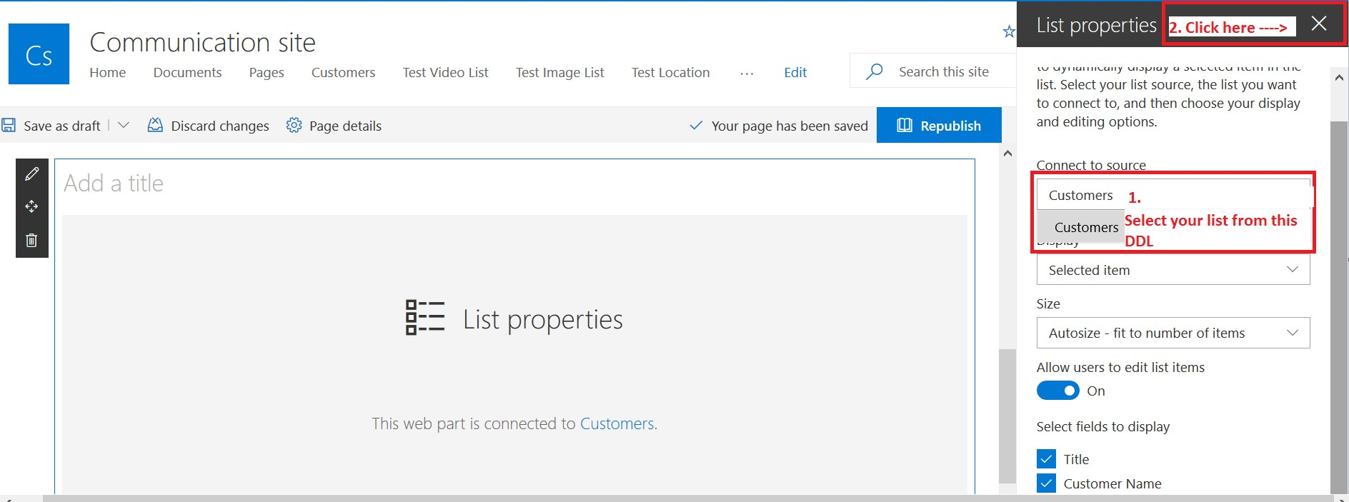 Connect to source in list view web part drop-down list - SharePoint Online