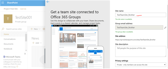 Get a team site connected to Office 365 Groups