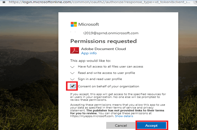 Consent on behalf of your organization - Permission Requested in Adobe Document Cloud