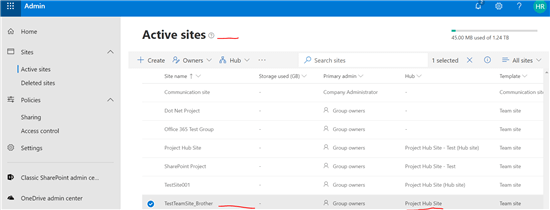 Create hub site in SharePoint online