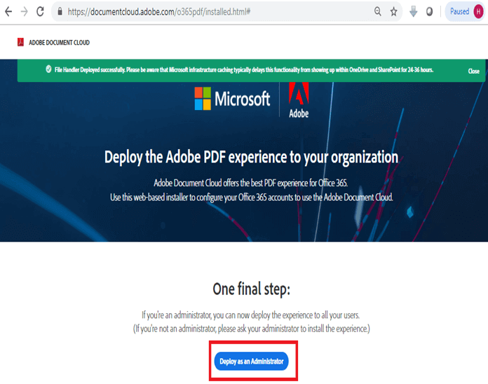 Deploy the Adobe PDF experience to your organization