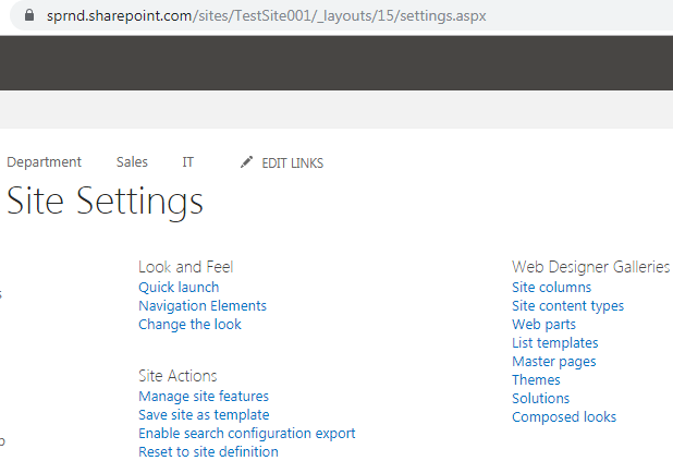 Site settings page layout in SharePoint online