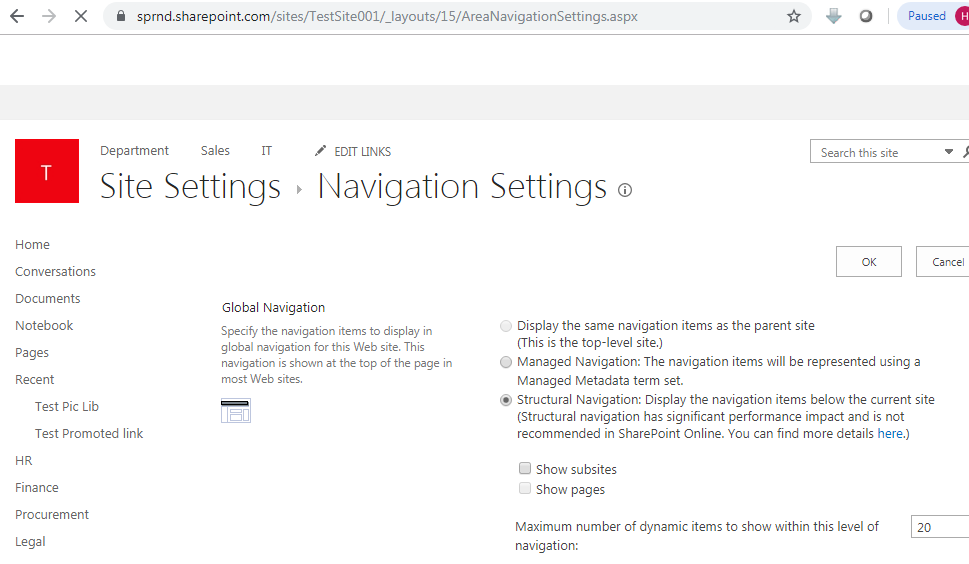 Navigation settings in SharePoint online URL