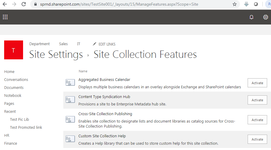 Site collection features in SharePoint URL
