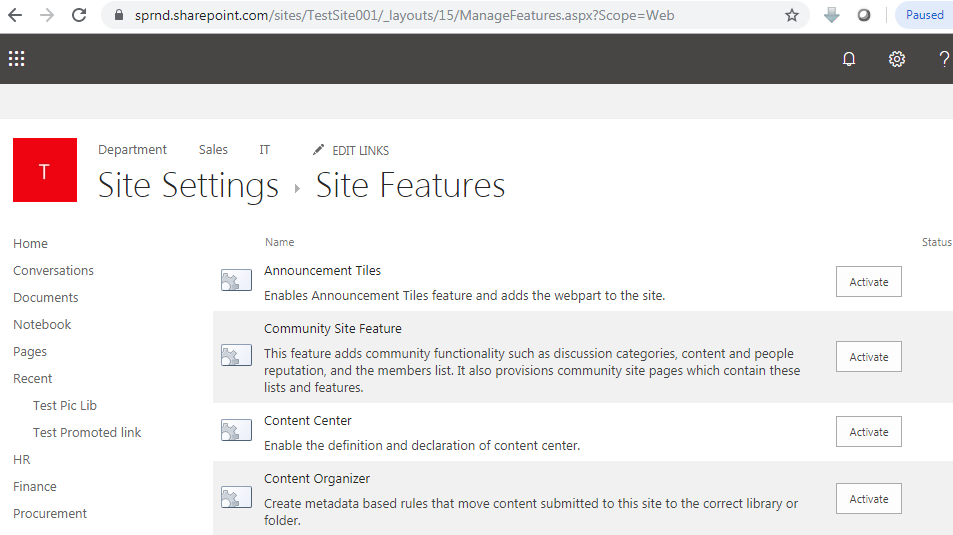 Site features in SharePoint online URL