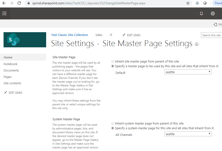 Change site master page SharePoint 2013 URL