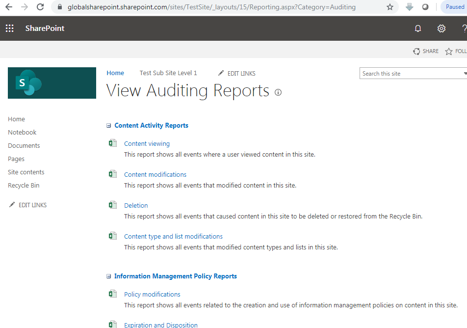 SharePoint online audit log reports URL
