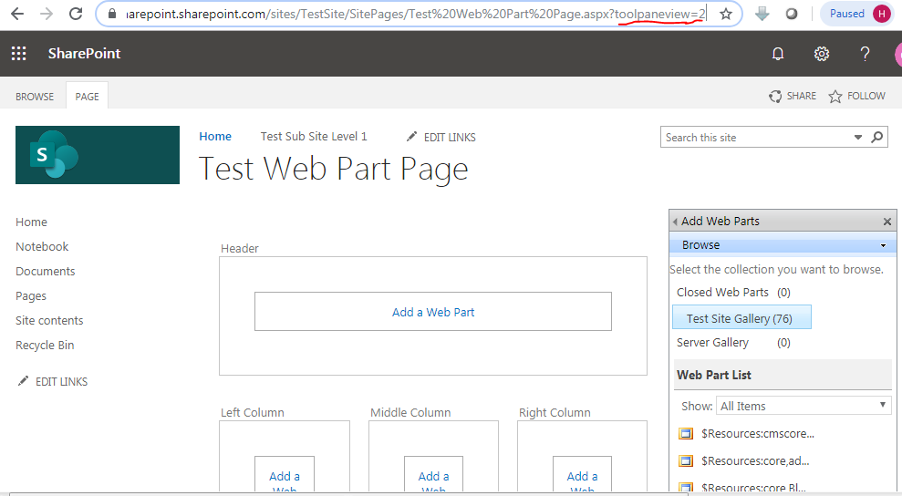 Web part page edit mode URL in SharePoint online