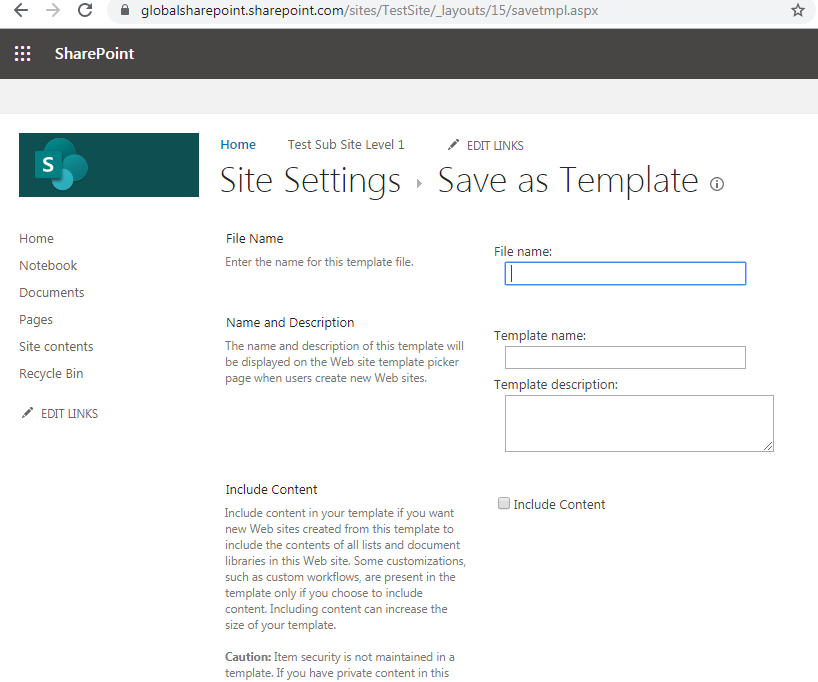 Save site as template SharePoint online URL
