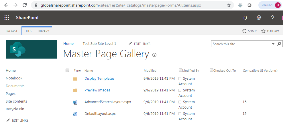 Master page gallery in SharePoint 2013 URL
