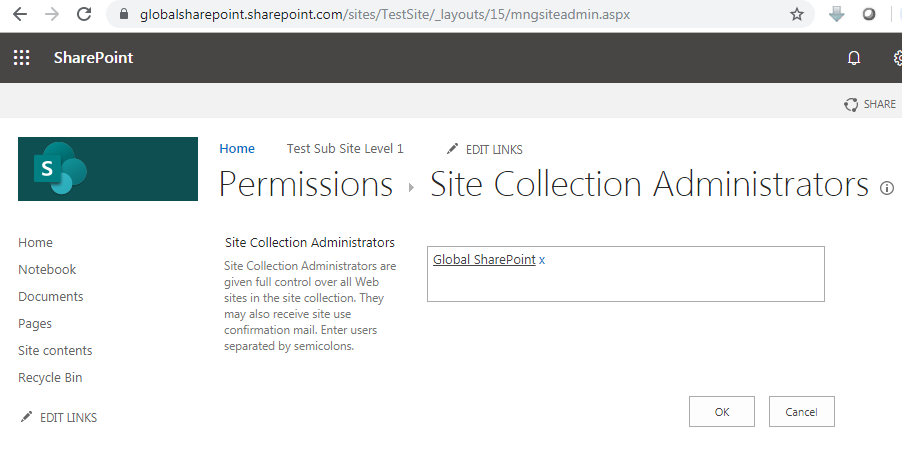 Site collection administrators URL in SharePoint online