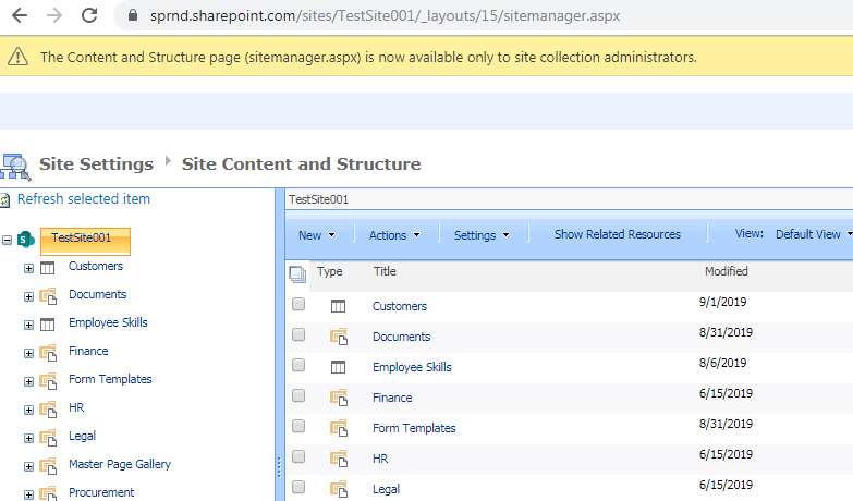 Site content and structure in SharePoint Online