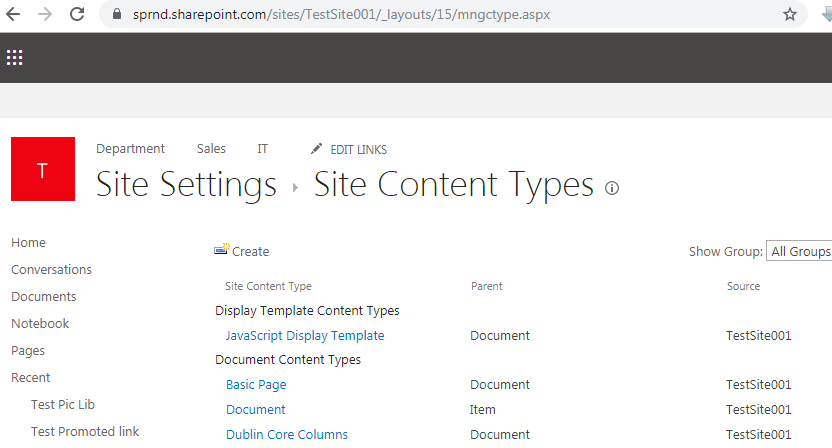 Site content type SharePoint online URL