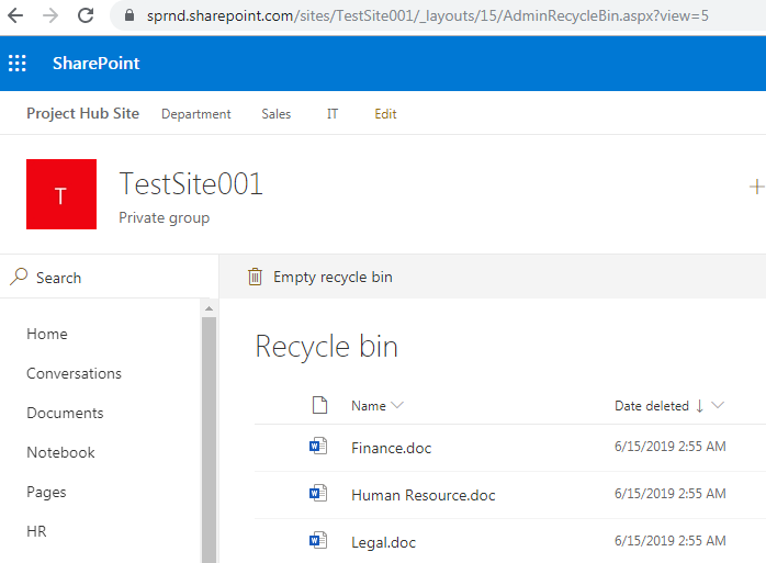 Site collection level recycle bin URL in SharePoint Online