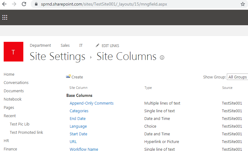 Manage site columns URL in SharePoint
