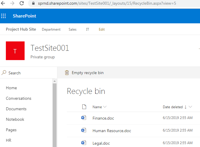 Site level recycle bin URL in SharePoint online