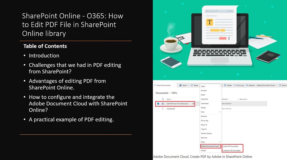 SharePoint Online - O365: How to Edit PDF File in SharePoint Online library