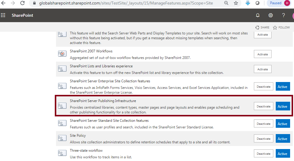 SharePoint Server Publishing Infrastructure