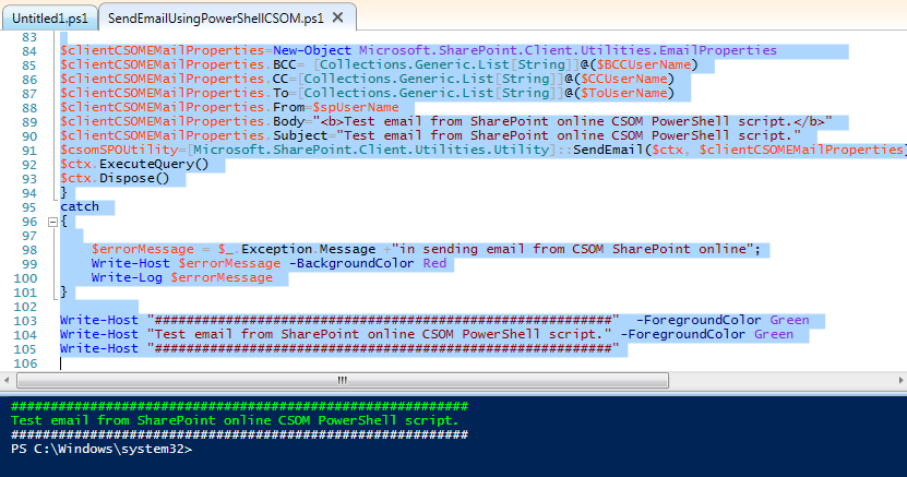 SendEmailFromSPCSOMPowerShell1