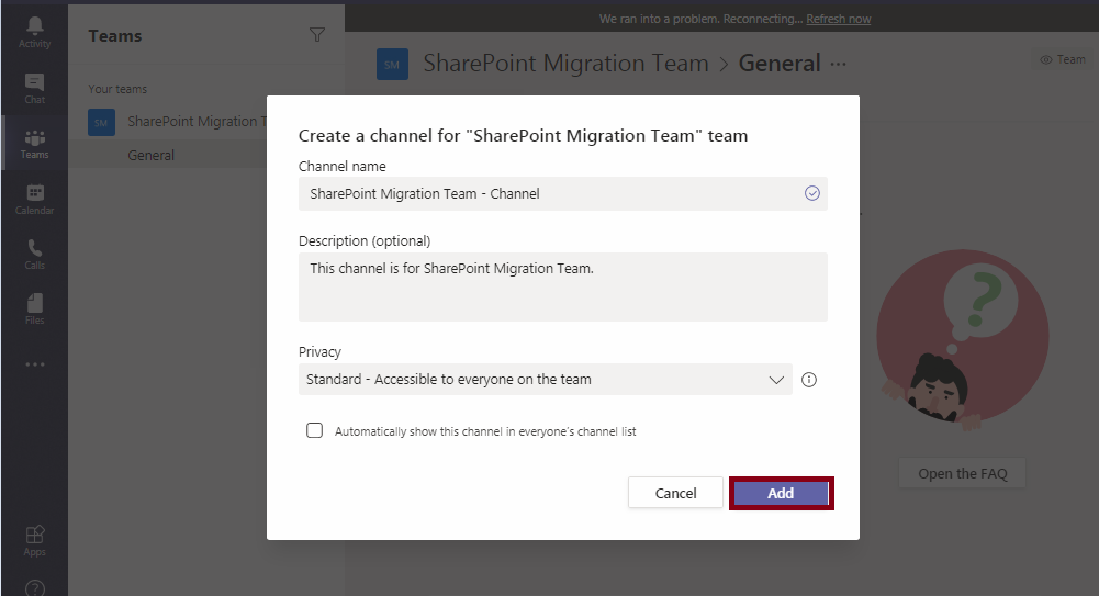 Microsoft Teams-Channel-SharePoint Integration