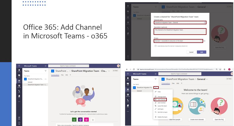 Office 365: Add Channel in Microsoft Teams - o365