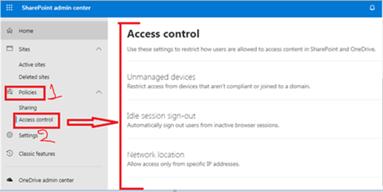 Access Control in SharePoint admin center - Office 365 - Microsoft 365 admin center