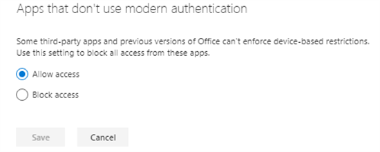 Apps that don't use modern authentication in SharePoint admin center - Office 365 - Microsoft 365 admin center