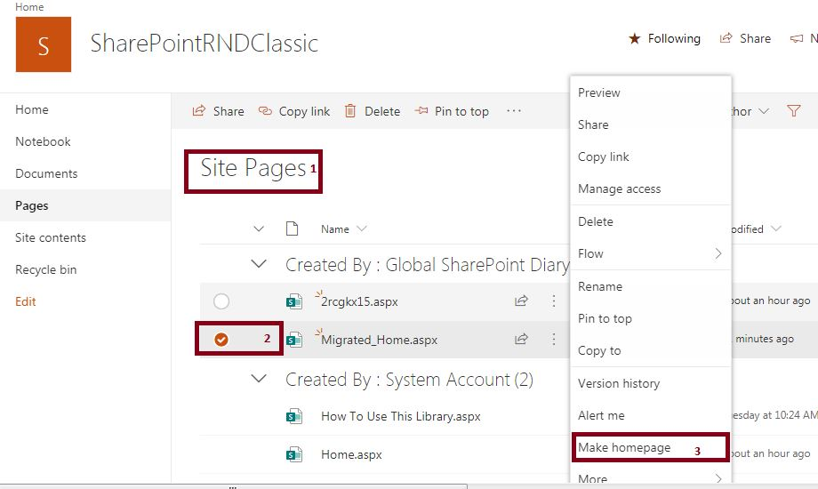 Set as make home page: Convert classic sharepoint site page to modern page