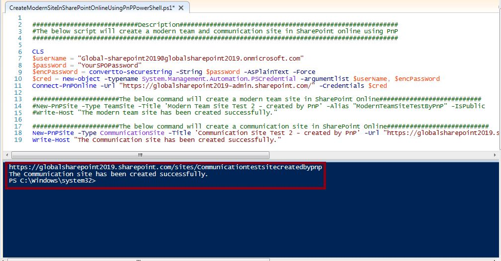 Script execution test: Create a communication site in SharePoint Online using Pnp PowerShell