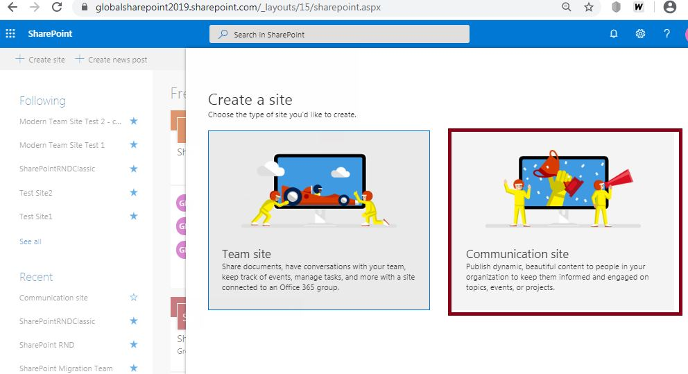 Site template selection: Create a communication site in SharePoint Online