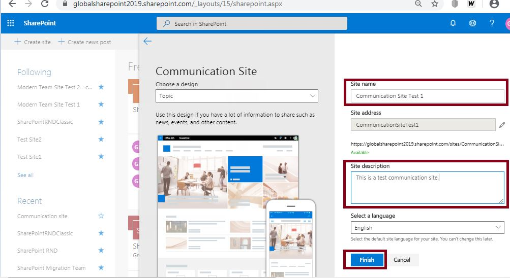 Site name and description: Create a communication site in SharePoint Online