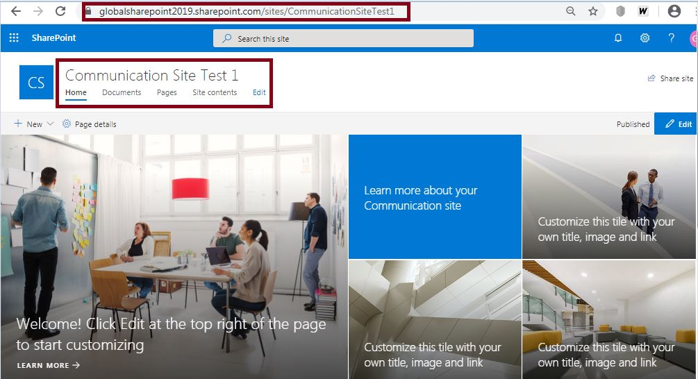 Communication site home page look and feel: Create a communication site in SharePoint Online