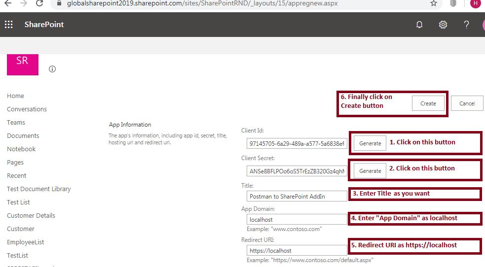 App information registration: Register Add-In - SharePoint online - Appregnew.aspx - App Information