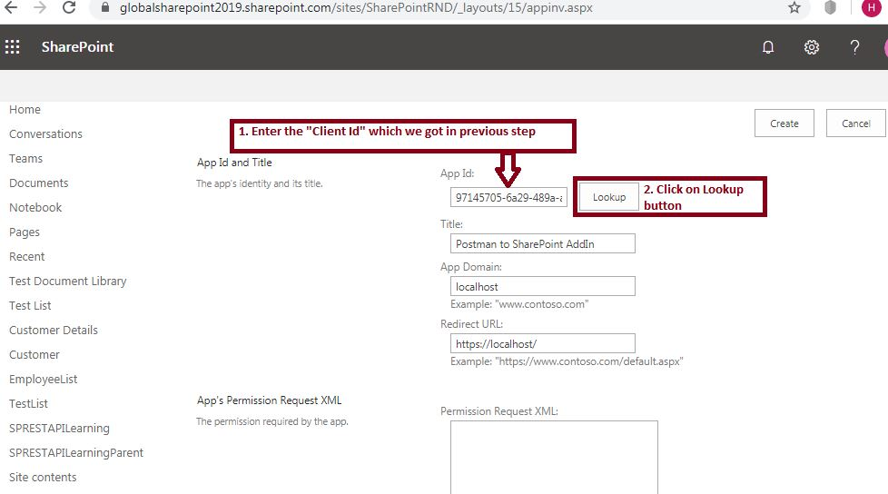 App's Permission Request XML: Grant Permissions to Add-In - SharePoint online - Postman tool SharePoint online REST API