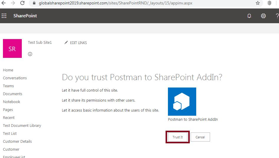 Do you trust postman to SharePoint Addin? : Grant Permissions to Add-In - SharePoint online - Postman tool SharePoint online REST API