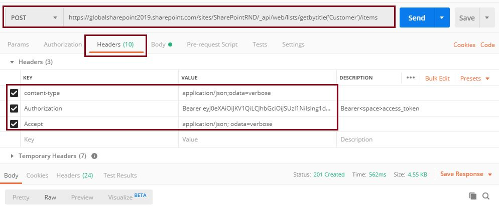 Add new item to SharePoint online list, POST: Sharepoint Api -create new item in the list using Postman