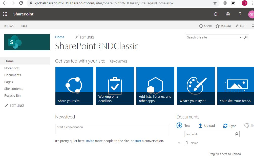 Classic home.aspx page: sharepoint online classic home page