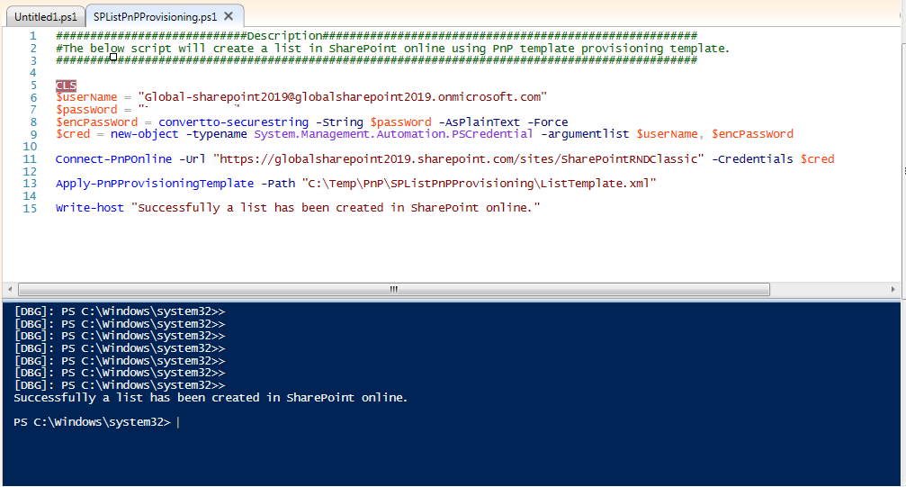 Create a SharePoint list using PnP Provisioning - execution completed